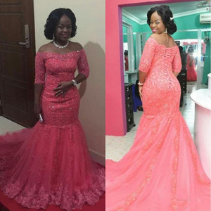 African Beaded Appliques Mermaid Off Shoulder Evening Dresses 2020 Long Prom Gowns Elegant Formal Party Dress Lace Up