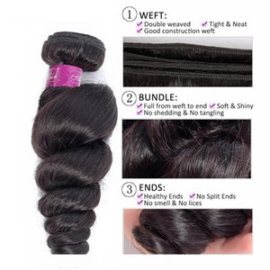 H Perstar Hair Peruvian Loose Wave 1pc Bundles Available 100 %Unprocessed Remy Human Hair Extension Hair Weave Bundles Natural Color