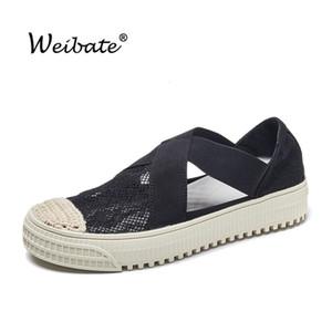 WEIBATE Pescador Shoes Mulheres 2020 Verão elástico plana sapatos casuais selvagem Lace respirável Straw antiderrapante Mulheres