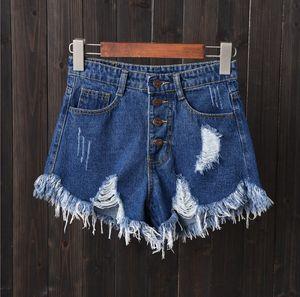 Shorts Mulher Temperamento Verão cintura alta Fácil Fina Estudante Tight Pants Tide buracos brancos Jeans Mulheres