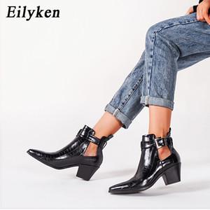 Eilyken Branco PU couro Sapato de bico fino vaqueiro Botas Mulheres High Heel Botas Moda Cobra impressão da bracelete ocidental Bota