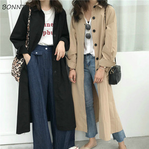 Trench Women Spring Pure Khaki Black New Chic British Style X-long Trendy Thin Casual All-match Femme Outerwear Loose Minimalist