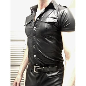 2020 New Sexy Men Faux Leather Skinny Short Sleeve Coats Shiny Latex PVC Punk Style Front Zipper Patent Leather Slim Coats