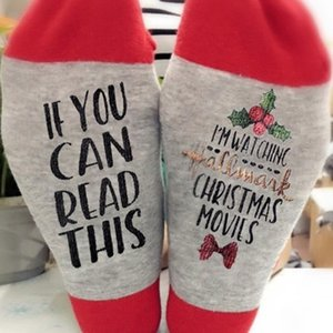 Movies Soft Socks Christmas Letters Printed Women Winter Warm Socks Gifts Cotton Mid Tube Socks christmas decorations HH9-2600