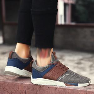 con tamaño de malla transpirable resistente al desgaste zapatillas de deporte Calzado de malla Tamaño de moda de luz salvaje zapatos casuales zapatos de los hombres de la caja Plus