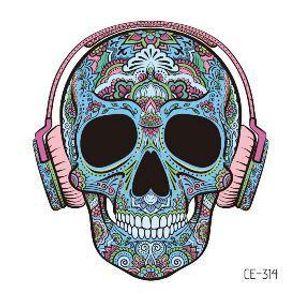 Tatoo temporal falsa etiqueta engomada del tatuaje del cráneo de Halloween tatuajes uso de auriculares Máscara Tatouage Tatto impermeable Hombres Mujeres Niños