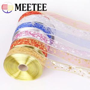 Meetee 5cm Bling Yıldız Baskılı Organze Noel Hediyesi Paket Şerit DIY Tatil Evi Dekorasyon Webbing Craft Dikiş Aksesuar BD449