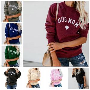 DOG MOM رسالة طباعة تي شيرت ربيع الخريف طويلة الأكمام بلوزات النساء المحملة أزياء أنثى القمم الأمومة الملابس LJJA3578-13