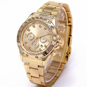 La moda de lujo clásico de acero inoxidable reloj de los hombres anillo gira Calendario 3-Eye taladro de reloj de cuarzo para dar a las mujeres el mejor regalo para el ocio