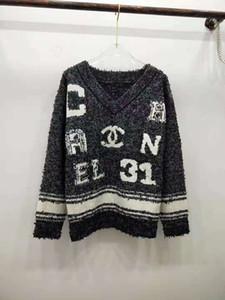 1216 2020 della molla di marca degli stessi di stile Maglione Pullover Lettera V Neck Fashion Luxury Abbigliamento da donna Kint QIAN