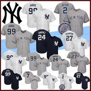 99 Aaron Giudice 2 Derek Jeter 27 Giancarlo Stanton 150 maglie di baseball di New York del pullover 24 Gary Sanchez ricamo basso freddo