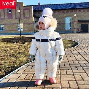 IYEAL الأحدث الشتاء الأطفال ملابس اطفال مقنع الفراء الطبيعي رشاقته دافئ السروال القصير طفل صبي وبذلة الرضع فتاة البدلة الدافئة ألبسة التنزه Y200320