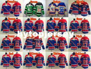 Yeni Erkekler Hoody Hokeyi 30 Henrik Lundqvist 2 Brian Leetch 11 Mark Messier 99 Wayne Gretzky Kapşonlu 62 Carl Hagelin Kapüşonlular