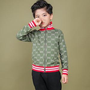 Enfants Vestes Zipper Couleur Collision Stripe Beaux Garçons À Tricoter Blouses Edition Coréenne Automne Et Hiver Nouveau Modèle Lettre Cardigan