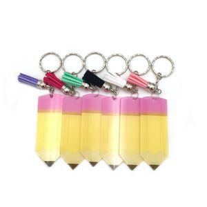Lehrer Wertschätzung Geschenk handgefertigte Quaste Drop Vinyl Bleistift Schlüsselanhänger geschnitten bedruckte Acryl Monogramm Name Bleistift Quaste Schlüsselanhänger