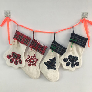 Christmas Hanging Stockings Candy Stocking Hanger Toys Candy Gift Bags Bear Paw Snowflake Santa Socks Christmas Tree Ornaments Decoration 08