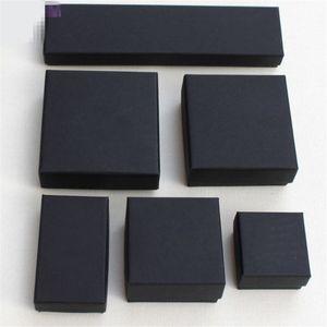 Archivos altos Negro Kraft Joyería Embalaje Pulsera Collar Anillo Oreja Caja de uñas Regalo de Navidad Año Nuevo Personalizar 6 tamaños