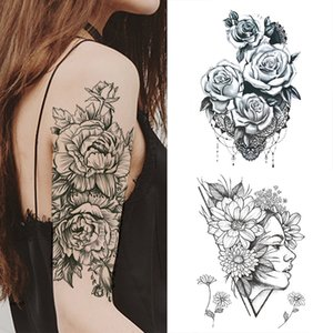 1 Girl PC Moda feminina temporária Arm Flower Tattoo traseiro preto Design Rosas Full Body Art Tattoo Big Grande Falso etiqueta