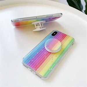 Новый милый красочный блеск Радуга чехол для телефона iPhone 11Pro MAX 7 6 8Plus Xs Max Мягкий силиконовый Bling звезды держатель крышка