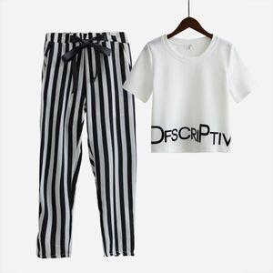 Женская Set Summer White Letter Printed T Shirt Sexy Обрезанные Tops + полосатые брюки Теленок Длина Повседневный Tracksuit S65347R