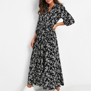 Women's Clothing Dresses Hot Sale 2020 Spring Women's Printed Floral Chiffon Dress Long Casual Thin High Waist Lace Up Vintage Long Dress