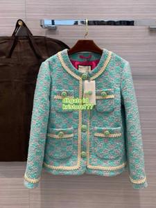 2020 Milán alto extremo mujeres niñas lujo y diseño allover de la chaqueta de tweed carta con botones de cristal pista femenina de la cinta de Marfil capa de la chaqueta del ajuste