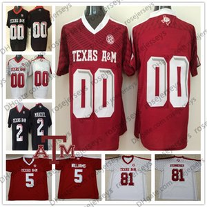Benutzerdefinierte Texas am Aggies 2019 Football Jeder Name Nummer Schwarz Rot Weiß 11 Kellen Mond 82 Dylan Wright 88 Baylor Cupp Mankiel Jersey