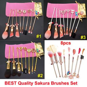 Conjunto de Pincéis de Maquiagem Cardcaptor Sakura escova 8 pcs Bonito Metálico Magical Menina Rosa Escova de Ouro Saco Rosa Rosto Olhos Lábios Sobrancelha Escovas Cosméticas