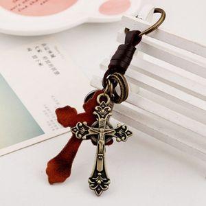 الجلود سلسلة مفتاح الجلود سبيكة الرجعية المسيحية الصليب حلقة سلسلة المفاتيح مفتاح حامل سحر الإكسسوارات سيارة قلادة حقيبة EEA607