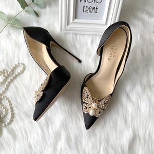 2020 mujeres de boda atractivo manera de la señora envío libre lazo de satén negro de perlas de cristal dedos del pie Poined talones zapatos de tacón alto del estilete sandalias de las bombas