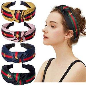 Kadınlar için yeni moda Headbands - Saç Hoops Arı Hayvan Geniş Çizgili Kafa, bezi ile Çapraz Düğüm Tasarımcı Headbad Sarılmış
