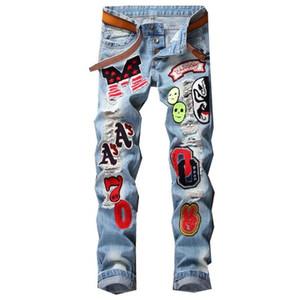 Мужчины Жетон Патчи джинсы Slim Fit Вышитые Ripped Череп Печать Мужской Denim брюки Средний Талия Staight Джинсы Pant J3133