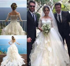 Robes de mariée de demi-manches Princesse Halles 2019 Tulle d'épaule Appliquée Boho Beach Beach Robes de mariée Bridal Bridal Plus Taille Custom