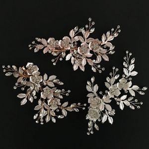 Rose Gold Wedding Nupcial Da Dama De Honra De Prata Handmade Strass Cabelo Pentes Headband Acessórios Para o Cabelo de Luxo Headpiece Fascinators Tiara