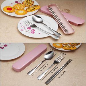 High quality children tableware set portable travel tableware supply chopsticks fork spoon cutlery set Tin box package W1903012