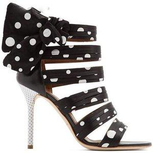 Nouveau Design Polka Dot Femmes Sandales Gladiator Open Toe Découpe Dames Élégantes Talons Hauts Chaussures Femme Bow-Knot Été Bottines
