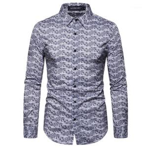Punto de impresión de manga larga para hombre de diseño en las camisas ocasionales con hombres Ropa 3D Digital Print hombre del diseñador camisas delgado de la manera de polca