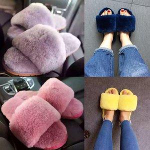 Millffy yün kürk ev terlik klima oda koyun derisi terlik kürk ev ayakkabıları kadın