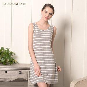 DO DO MIAN Schlaf-Kleid Baumwolle Nachthemd für Frauen O-Ausschnitt knielangen Sleep grauen Streifen-Sommer-Sleeveless Nachtwäsche M L XL