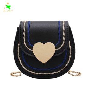 Ins Popular Women's Bag New Fashion Messenger Saddle Bag Love Buckle Brand Designer Shoulder Chain Bag
