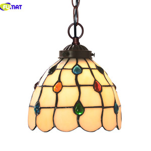 FUMAT Tiffany Lampada a sospensione LED E27 Stained Glass Shade Pendant Light Color Glass Art Hanglamp Flower Sospensione Lampade a sospensione