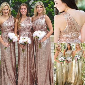 Rose Gold Sequin Plus Size Bridesmaids Dresses 2020 Una lunga linea ragazze damigella d'onore formale Wedding Party Dress Junior