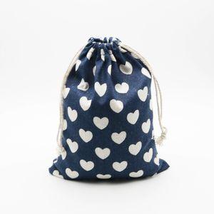 Heart Linen Jewelry Drawstring Bag 9x12cm 11x14cm 13x17cm pack of 50 Birthday Wedding Party Candy Bag Sack