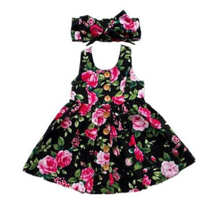 2019 Summer Long Sleeve Girls Dress Baby Girl Clothes Button Floral Dress Wedding Pageant Formal Dresses Sundress Clothing