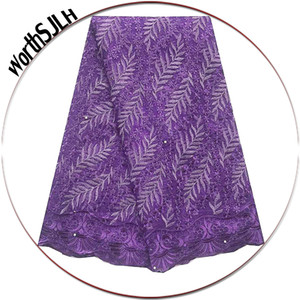 Best Selling 2019 French Lace Fabric Net Women Purple Lace Fabric Sliver Nigerian Wedding Beads Indian Africa Lace Fabric
