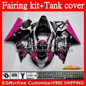 Vücut + Tank İçin SUZUKI Pembe Satılık GSXR600 gsxr750 GSXR600 600cc 2004 2005 66NO.25 GSXR 600 750 CC K4 750cc GSX R600 gsxr750 04 05 Fairing