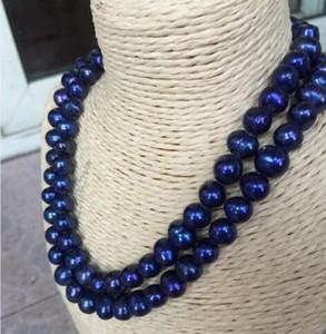 """Doppelte Stränge 10-11 mm Tahiti Barock-Blau Perlenkette 18 """"925 Sterling Silber"""