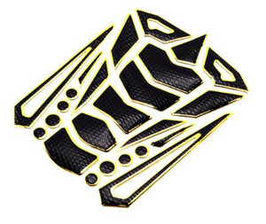 Moto 3D Sport Bike Oil Gas Fuel Tank Pad Protection Decal en caoutchouc jaune