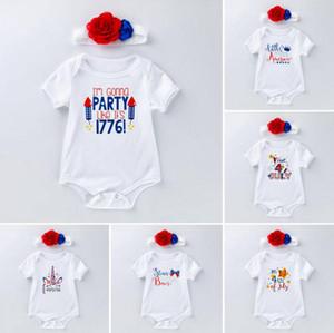 Säuglings-Baby-Designer-Kleidung Junge Mädchen 4. Juli Strampler Handbands INS Kleidung Infant Stern Striped Spielanzug Printed Cotton Overall DYP356
