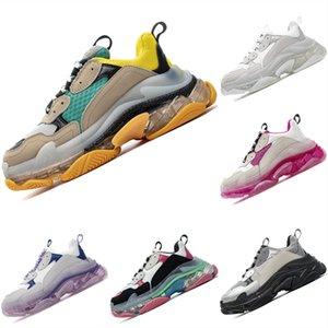 Kutu 2020 Triple ler Deri Mesh Nefes Erkek ve Bayan Sneaker Triple s Kristal Hava Yastık Koşu Spor Ayakkabıları ile